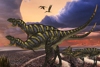Youngster Digital Art - Aucasarus Dinosaurs by Corey Ford
