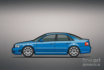 Audi A4 S4 Quattro B5 Type 8d Sedan Nogaro Blue Print by Monkey Crisis On Mars