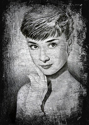 Famous People Drawing - Audrey Hepburn by Andrew Read
