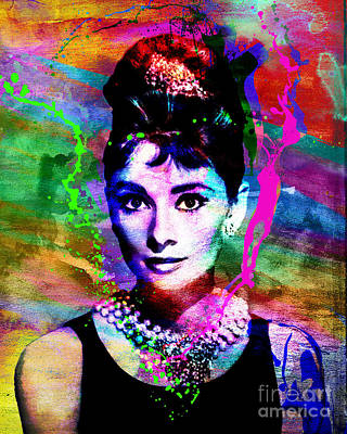 Audrey Hepburn Mixed Media - Audrey Hepburn Art by Ryan Rock Artist