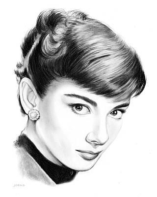Actors Drawing - Audrey Hepburn by Greg Joens