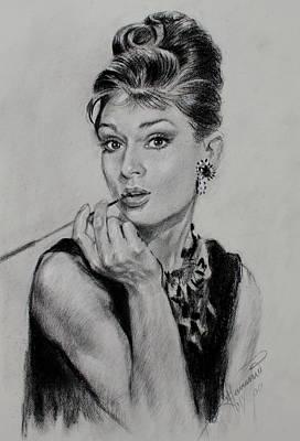 Actors Drawing - Audrey Hepburn by Ylli Haruni
