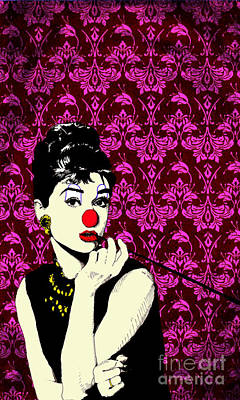 Audrey Hepburn Drawing - Audrey On Purple by Jason Tricktop Matthews