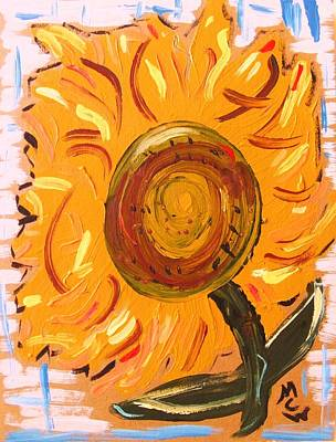 Simplicity Drawing - August 7 Late Day Sunflower by Mary Carol Williams