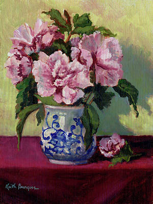 Rose Of Sharon Painting - August Blossoms by Keith Burgess