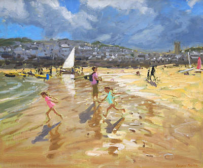 August In St Ives Print by Andrew Macara