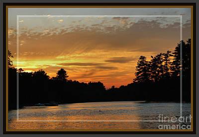 Loon Digital Art - August Sunset On Tacoma, Framed by Sandra Huston