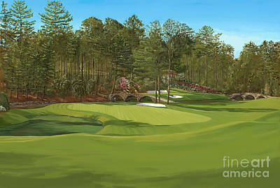 Augusta 11 And12th Hole Print by Tim Gilliland