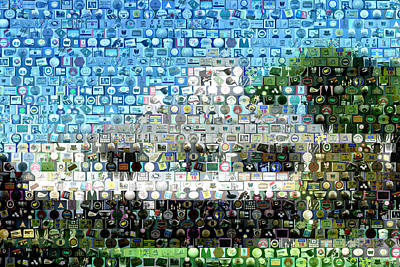 Linked Mixed Media - Augusta National Clubhouse Mosaic by Paul Van Scott