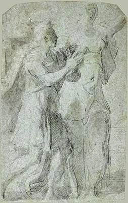Drawing - Augustus And The Sibyl by Parmigianino