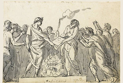 Drawing - Augustus Forbidding The Burning Of Virgil's Aeneid by Jacques-Louis David