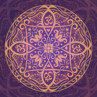 Purple Abstract Digital Art - Aum Awakening Mandala by Cristina McAllister