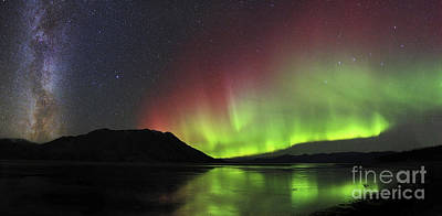Aurora Borealis Milky Way And Big Print by Joseph Bradley