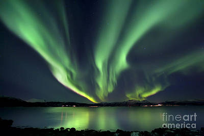 Illuminated Photograph - Aurora Borealis Over Tjeldsundet by Arild Heitmann
