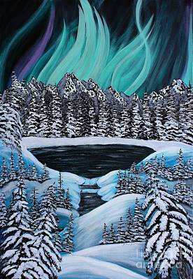 Snowscape Painting - Aurora's Fiery Display by Barbara Griffin