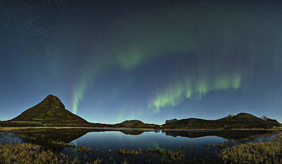 Aurora Photograph - Auroras Over The Pond by Frank Olsen