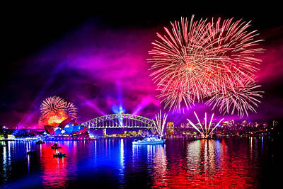 Fireworks Photograph - Aussie Celebrations by Az Jackson