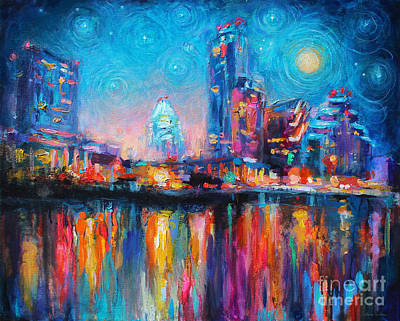 Night Drawing - Austin Art Impressionistic Skyline Painting #2 by Svetlana Novikova