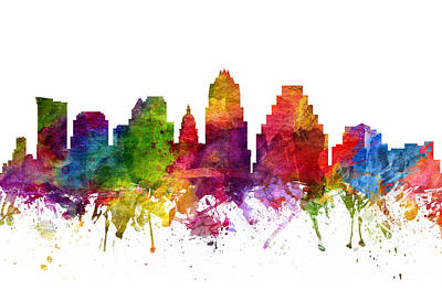 Austin Skyline Digital Art - Austin Cityscape 06 by Aged Pixel