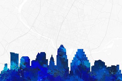 Splatter Digital Art - Austin Cityscape And Streetmap Blue Skyline by Jurq Studio