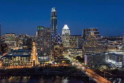 Austin Skyline Photograph - Austin Cityscape At Twillght by Tod and Cynthia Grubbs