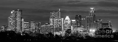Austin In Black And White Pano Print by Tod and Cynthia Grubbs