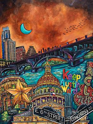 Austin Skyline Painting - Austin Keeping It Weird by Patti Schermerhorn