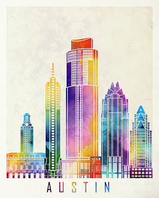 Austin Skyline Painting - Austin Landmarks Watercolor Poster by Pablo Romero