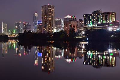 Austin Lights Up Lady Bird Lake Print by Frozen in Time Fine Art Photography