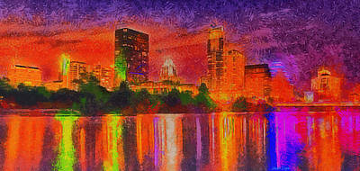 Water Tower Place Painting - Austin Night Skyline  - Special Finishing -  - Pa by Leonardo Digenio