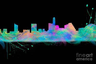 Austin Skyline Digital Art - Austin Skyine Watercolor With Black Bg by Tod and Cynthia Grubbs