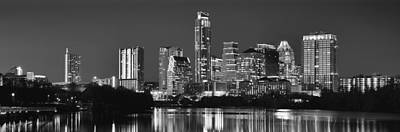 Black And White Photograph - Austin Skyline At Night Black And White Bw Panorama Texas by Jon Holiday