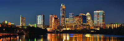 Texas Photograph - Austin Skyline At Night Color Panorama Texas by Jon Holiday