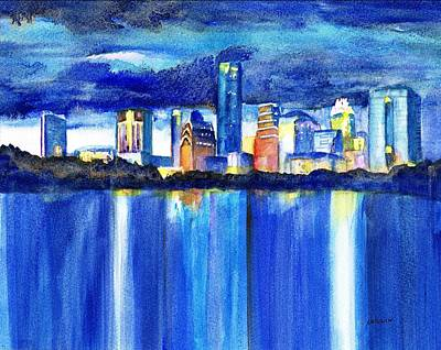 Austin Skyline Painting - Austin Skyline At Sunset by Carlin Blahnik