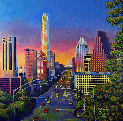 Austin Skyline Painting - Austin Skyline At Sunset by Dan Terry
