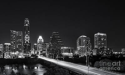 Cityscape Photograph - Austin Skyline Black And White by Tod and Cynthia Grubbs