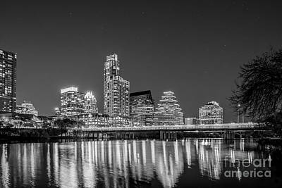 Austin Skyline In Black And White Print by Tod and Cynthia Grubbs