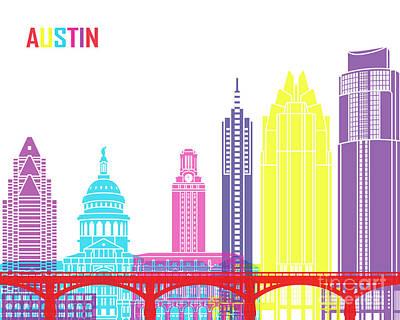 Austin Skyline Painting - Austin Skyline Pop by Pablo Romero
