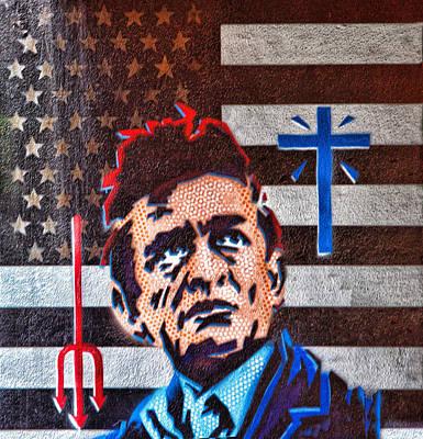Austin Texas Johnny Cash Mural Original by Linda Phelps