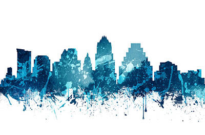 Austin Skyline Painting - Austin Texas Skyline 19 by Aged Pixel