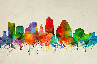 Austin Skyline Painting - Austin Texas Skyline 22 by Aged Pixel