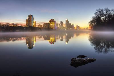 Austin Texas Skyline In January 1 Print by Rob Greebon