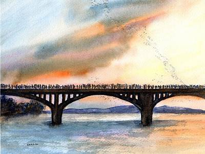 Austin Skyline Painting - Austin, Tx Congress Bridge Bats by Carlin Blahnik