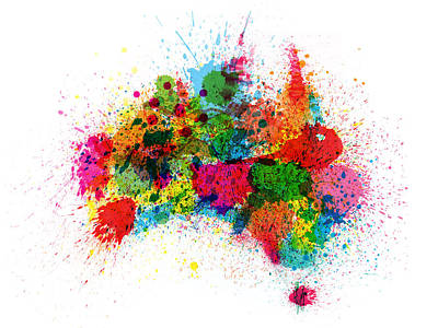 Sydney Digital Art - Australia Paint Splashes Map by Michael Tompsett