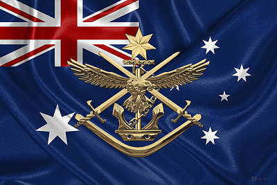 Australian Defence Force - A D F Badge Over Australian Flag Original by Serge Averbukh