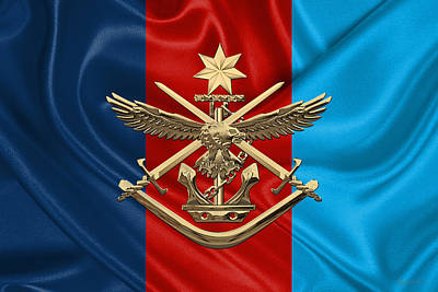 Australian Defence Force - Adf Joint Services Badge Over Flag Original by Serge Averbukh