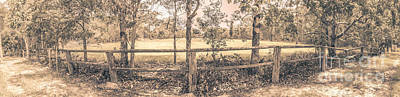 Wooden Fence Post Photograph - Australian Farm Fence Panorama by Jorgo Photography - Wall Art Gallery