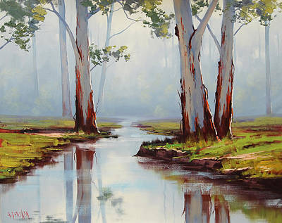 Gum Tree Painting - Australian Gum Trees by Graham Gercken