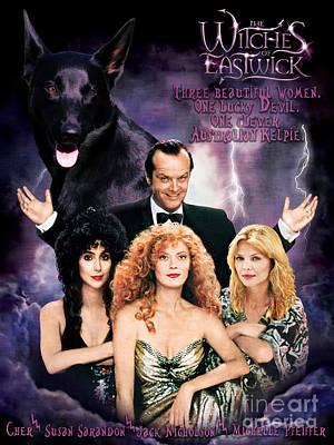 Kelpie Painting - Australian Kelpie - The Witches Of Eastwick Movie Poster by Sandra Sij