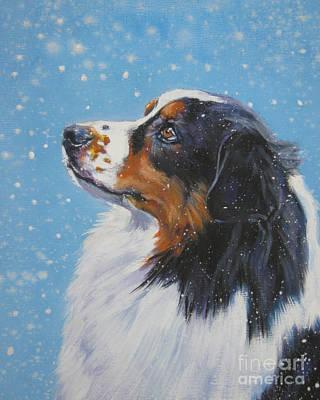 Australian Shepherd In Snow Print by Lee Ann Shepard